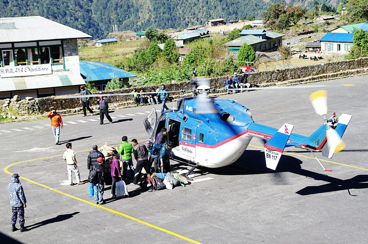EyeEm Diversity Lukla Airport Nepal Travel Kawasaki Bk 117 Helicopter 🚁 Nepal Street_collection Public Transportation Himalayas Trekking In Himalayas