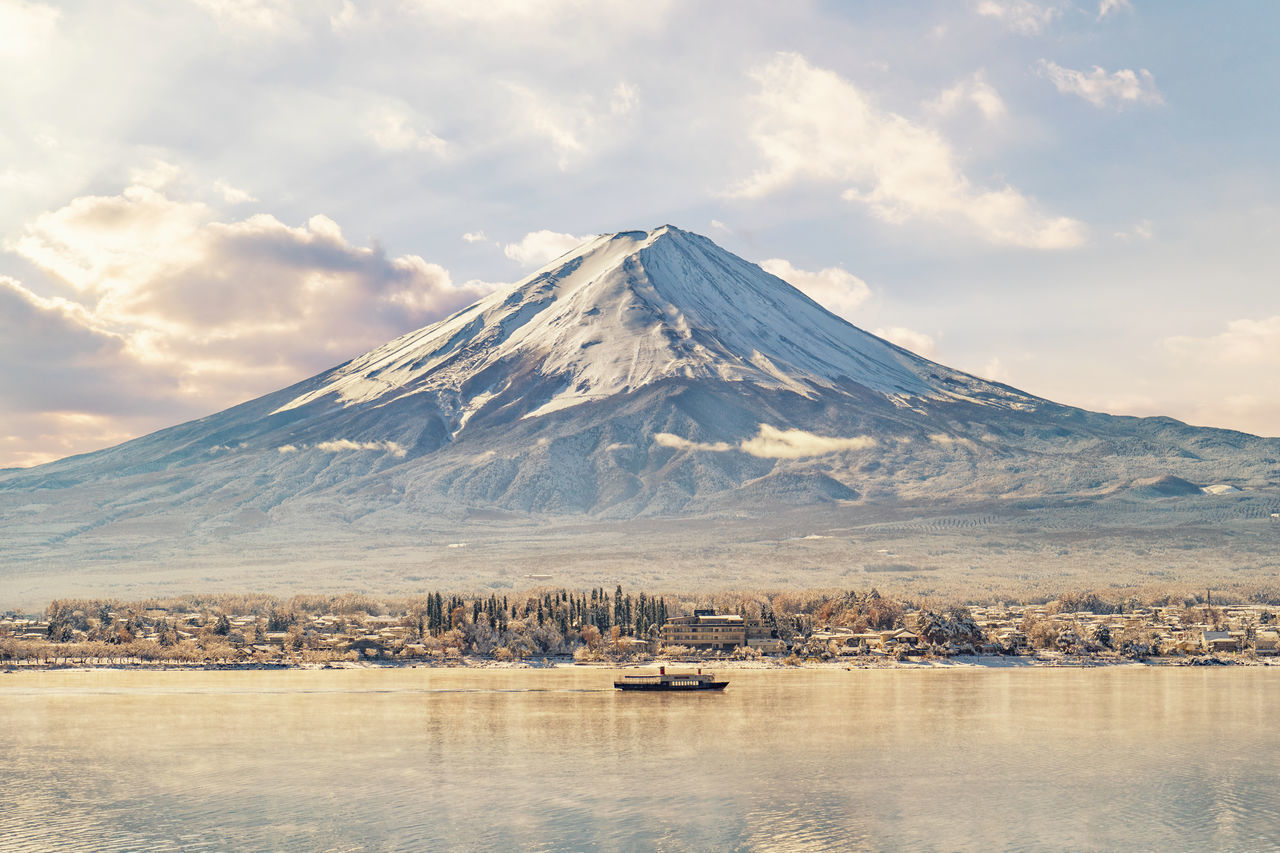 Mount Fuji reflection in the morning. Beauty In Nature Cloud - Sky Cold Temperature Day Fuji Japan Lake Landscape Morning Mount FuJi Mountain Mountain Range Nature No People Outdoors Reflection Reflections In The Water Scenics Sky Snow Snowcapped Mountain Tranquil Scene Tranquility The Great Outdoors - 2017 EyeEm Awards