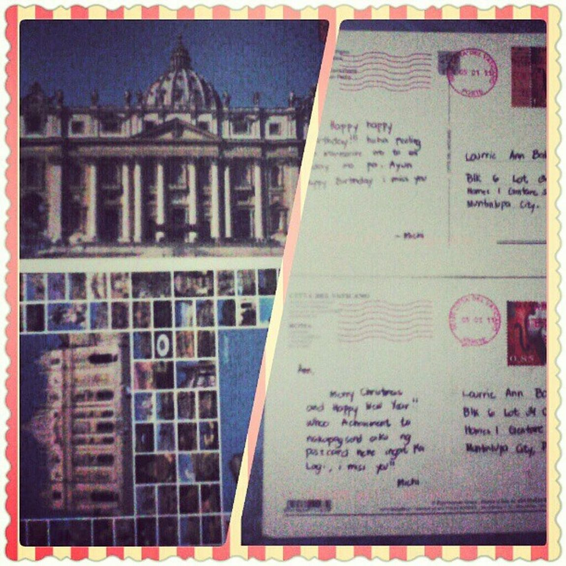 """Postcards from Italy, given by my bestfriend :""""> I miss her so muuuch! I want to see you again. StPetersBasilica CittaDelVaticano TheColosseum Roma"""