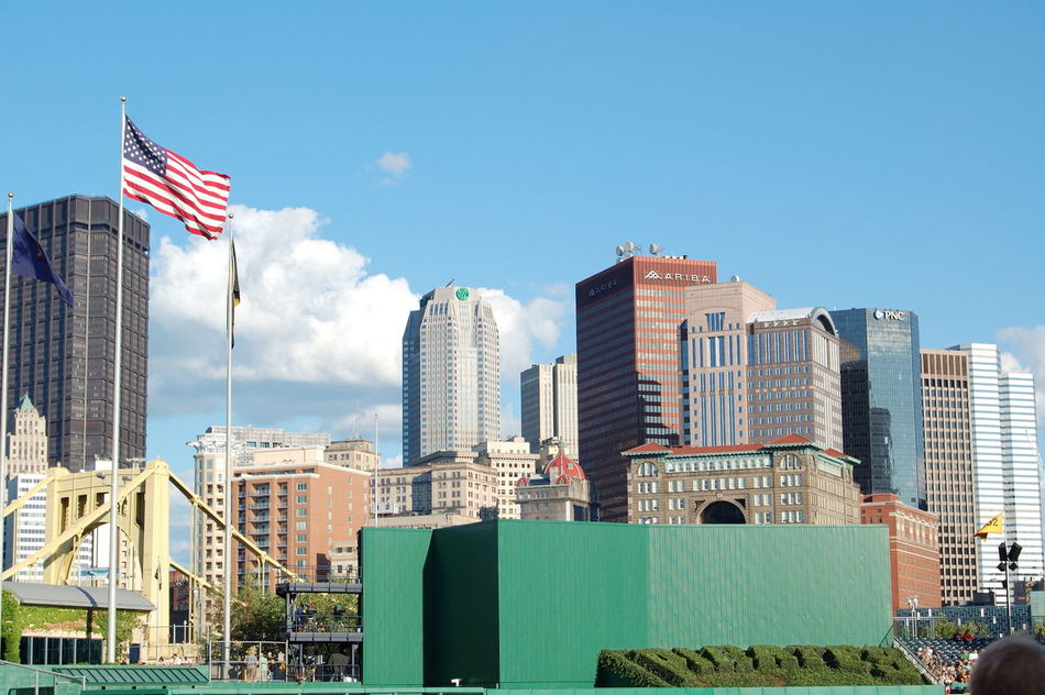 America Architecture Building Exterior Built Structure City City Life Clear Sky Flag Modern Office Building Pennsylvania Pittsburgh Skyscraper Tall - High Tower Urban Skyline PNC Park Pittsburgh Pirates Pirates Baseball Bucco Baseball Let's Go Bucs