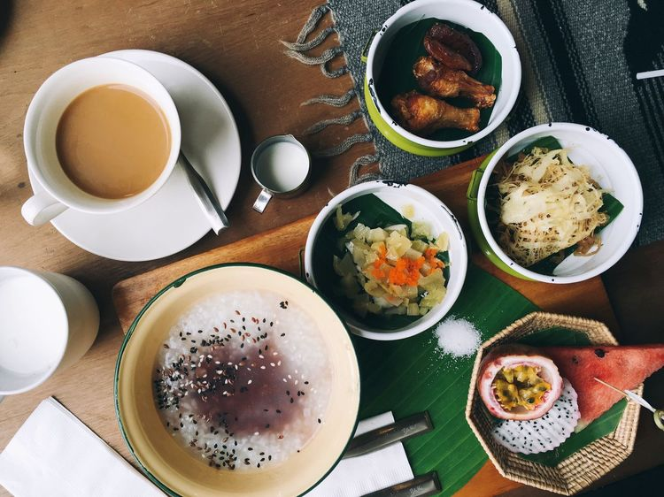Thai northern style breakfast | porridge Food Food And Drink Freshness Indoors  Plate Bowl Table Meal Directly Above Ready-to-eat Close-up High Angle View Healthy Eating Serving Size Indulgence Beverage Temptation Overhead View Served No People
