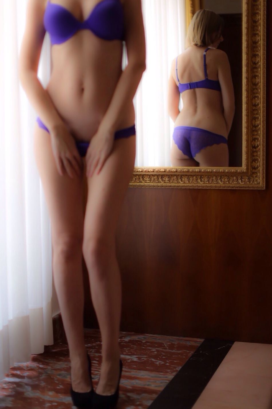 Reflection Mirror ThatsMe The Amazing Human Body Enjoying The View Woman Standing Legs Lingerie Beautiful Woman Portrait Of A Woman Human Body Purple Femininity Curves Softness Blonde Canonphotography Heels Taking Photos Bedroom