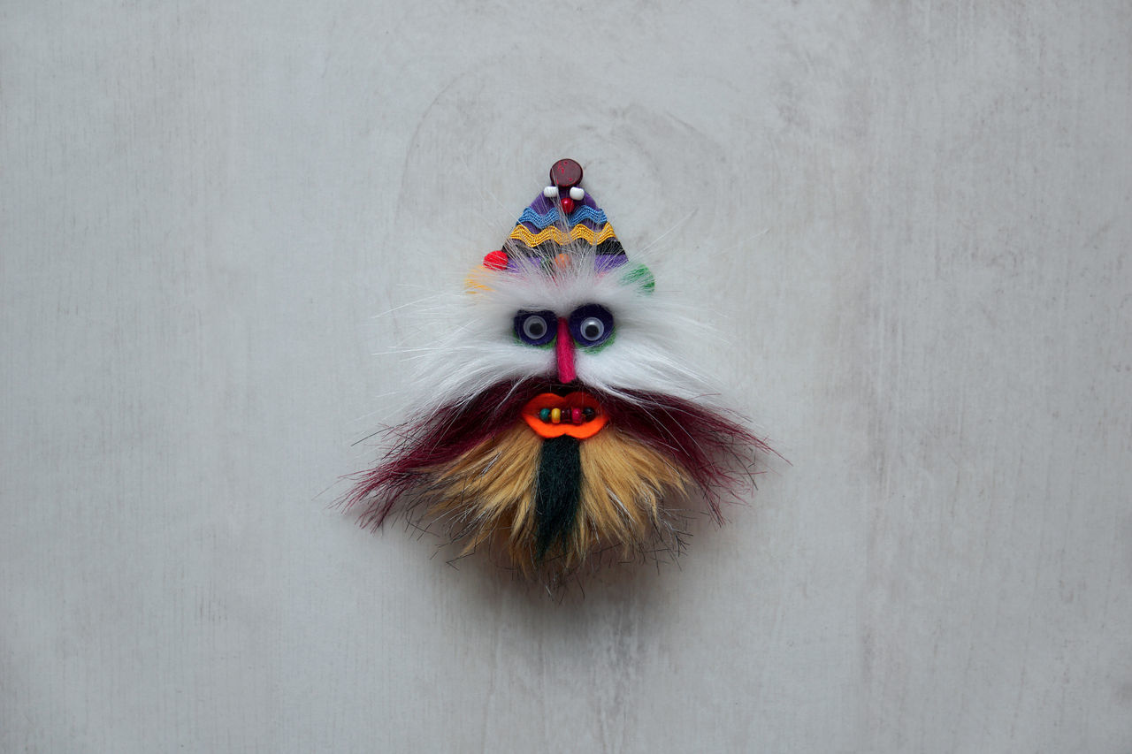 Traditional mask. Anthropomorphic Face Christmas Decoration Minimalism Looking At Camera Mask Multi Colored No People Symmetry Clown Handmade For You