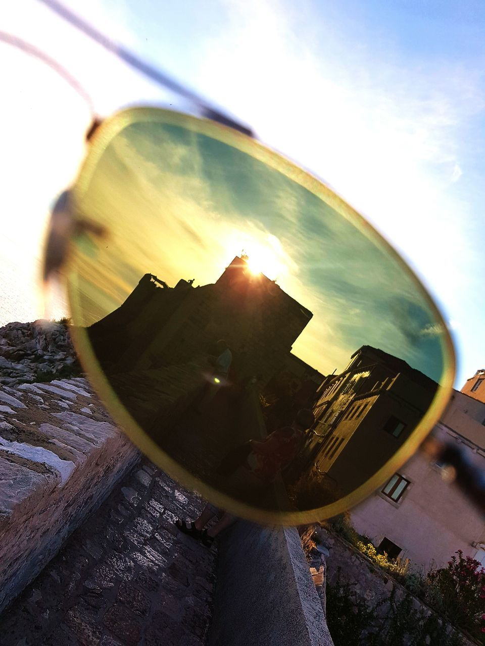 reflection, no people, outdoors, sky, day, fish-eye lens, close-up, nature