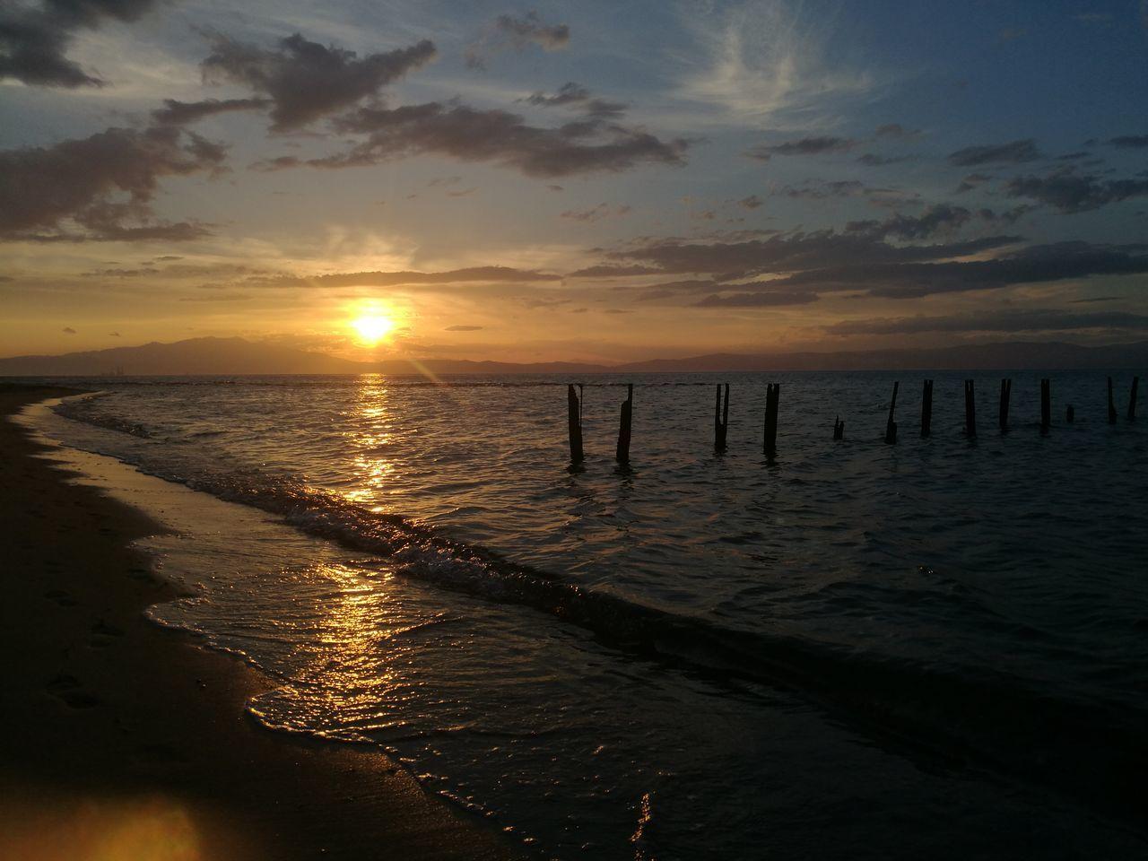 Sunset Sea Beach Horizon Over Water Sand Travel Destinations Thasos