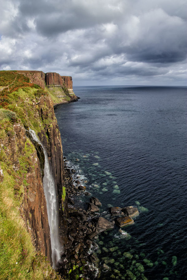 http://www.head-eye-heart.com Beauty In Nature Built Structure Cliff Cliffs Cloud - Sky Cloudy Coastline History Horizon Over Water Idyllic Kilt Rock Mountain Nature Non-urban Scene Outdoors Remote Scenics Scotland Sea Seascape Sky Tranquil Scene Tranquility Water Waterfall