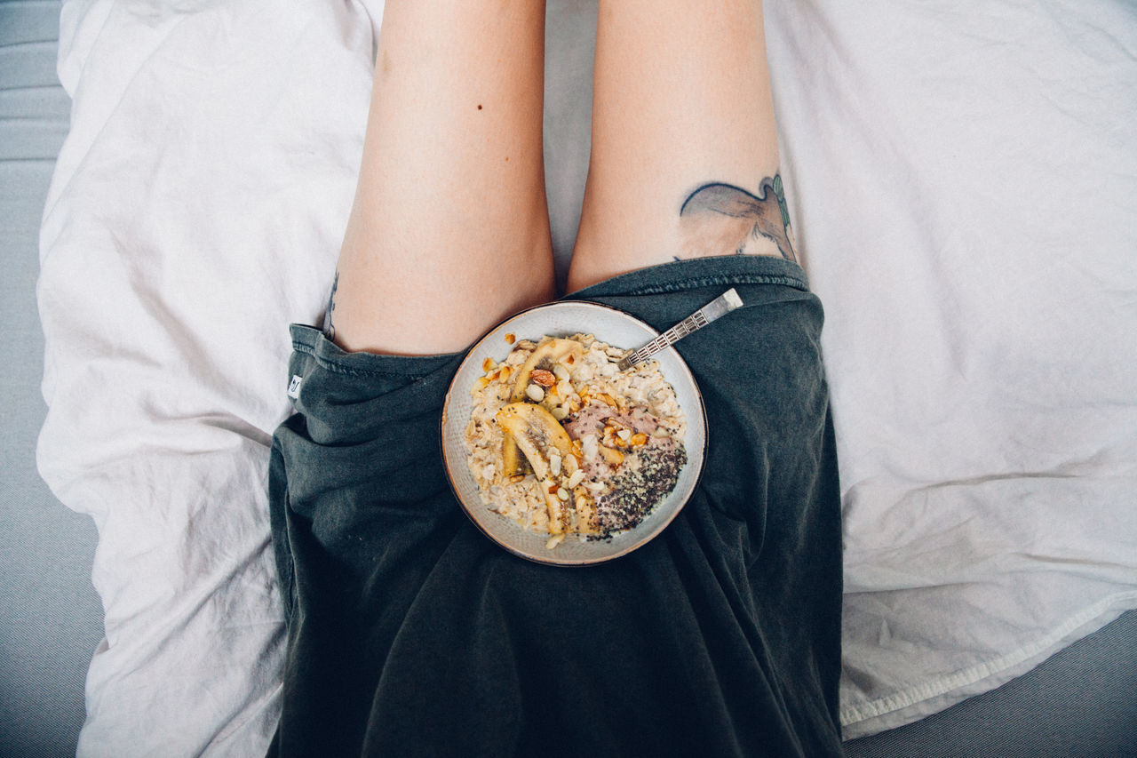 Banana Bed Bowl Eating Food Food And Drink Healthy Eating In The Bed Legs Oatmeal Porridge Tattoo Woman