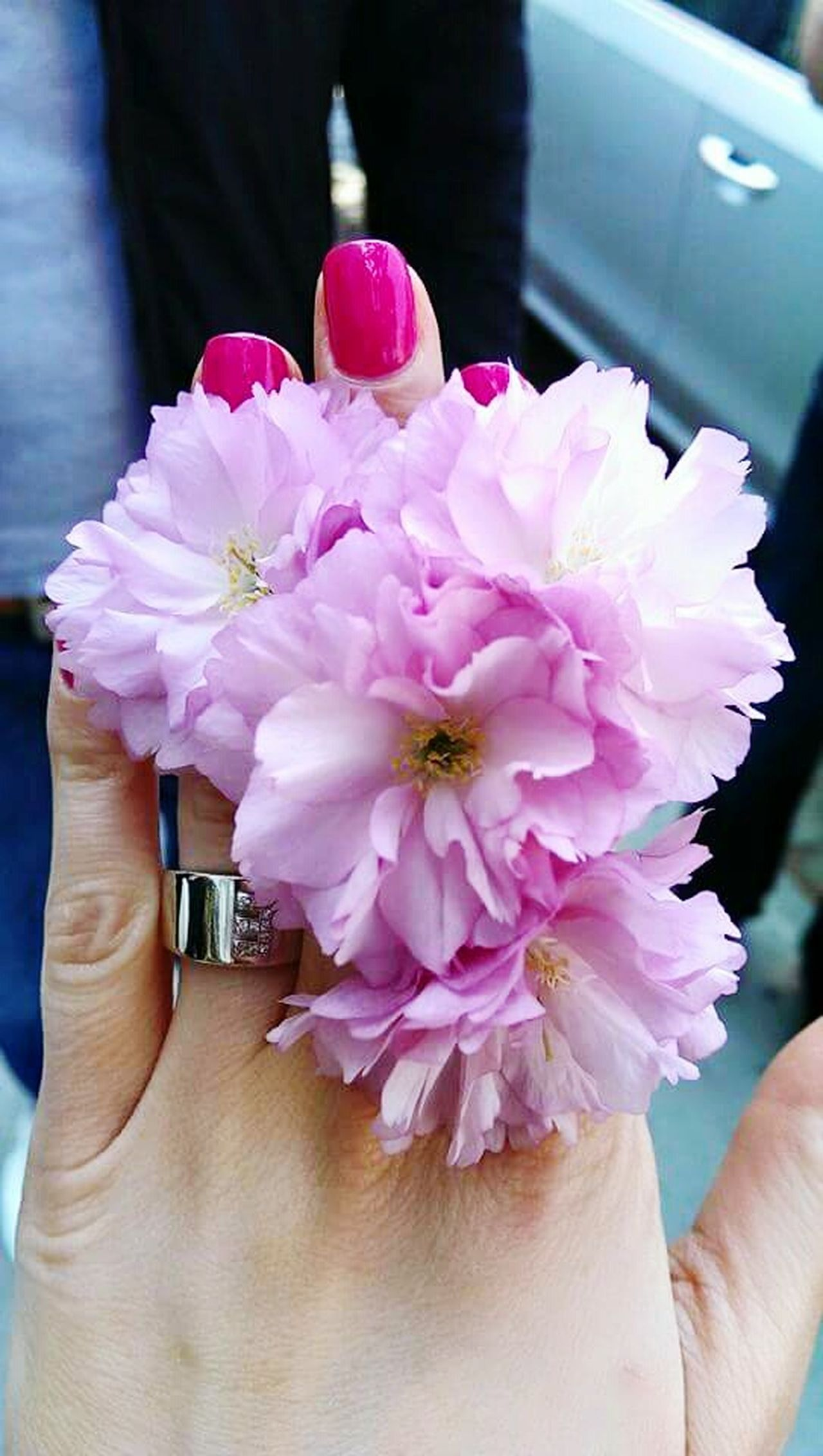 Pink Flower Nail Polish Pink Ring Womenpower Elegance And Class Hand Human Body Part Fingers Rings Daytime