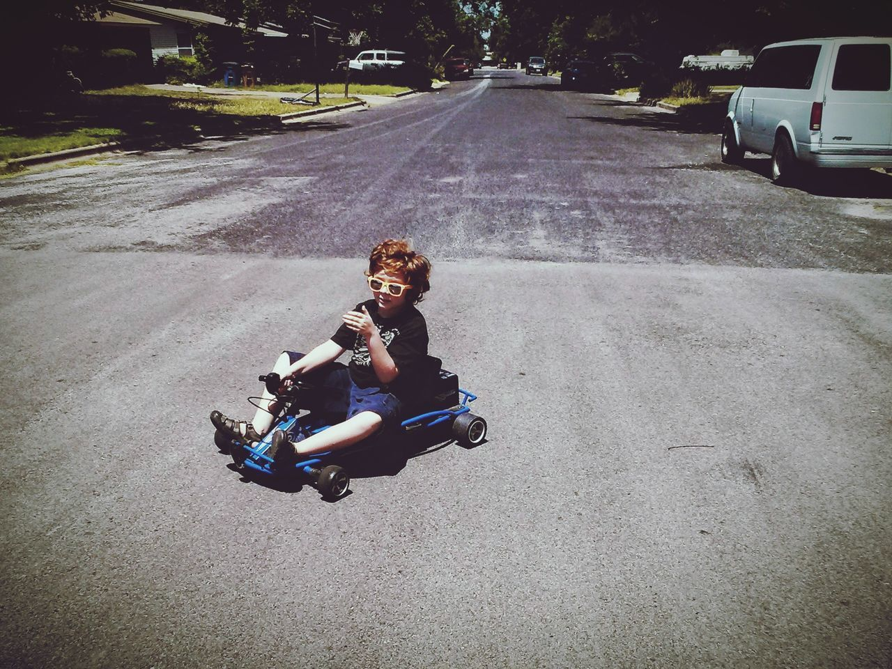 Live For The Story Go Carts Go Kart Red Head Boy Austin Texas Summer Memories 🌄 Sunglasses Road Boy's Fun Son Boys And Their Toys Let's Go. Together.