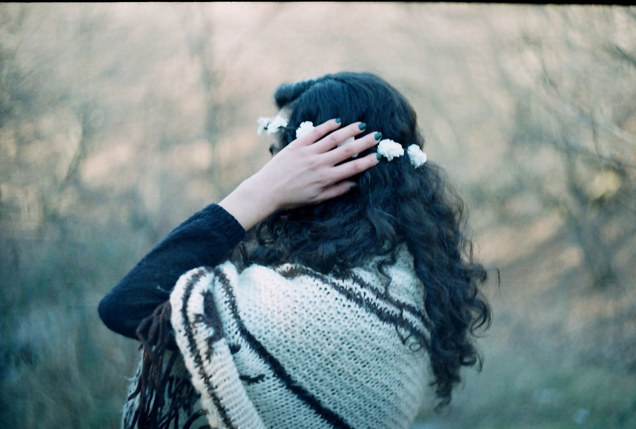 Adult Analog Analogue Photography Close-up Day Film Film Photography Human Body Part Nature Nature One Person One Woman Only Only Women Outdoors People Real People Warm Clothing Winter Women Wood