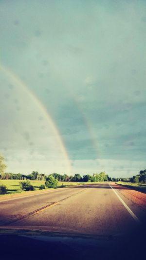 Double Rainbow Minnesota Hello World Car Drive Taking Photos Beautiful Nature Sky