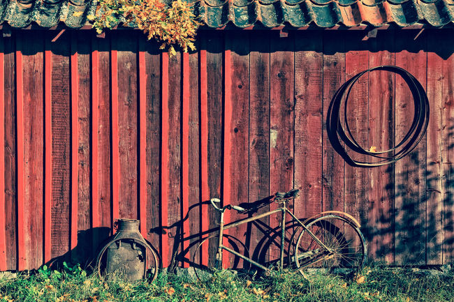 Color of Autumn. Vintage scene from one abandoned traditional Swedish cabin. Taken at the country side of Stockholm. Cross processed color. Abandoned Abandoned Buildings Autumn Bicycle Cabin Cabin In The Woods Color Europe Fall Mood Mood Captures Red Scandinavia Stockholm Stockholm, Sweden Vintage Vintage Photo Vintage Style