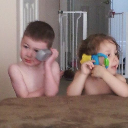 Naked babies on the phone! Pierson KamrynGrace