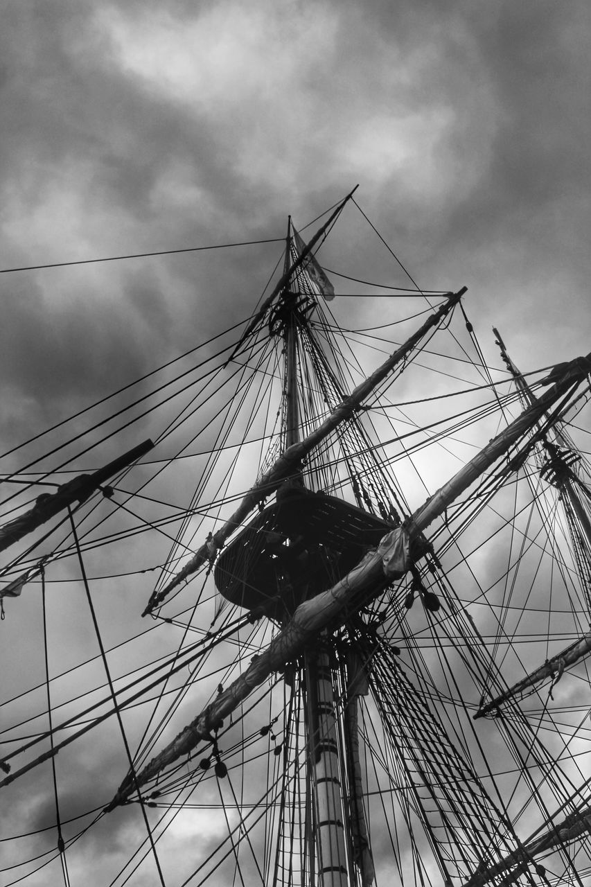 sky, cloud - sky, low angle view, mast, rope, nautical vessel, outdoors, day, no people, tall ship, sailing ship, nature