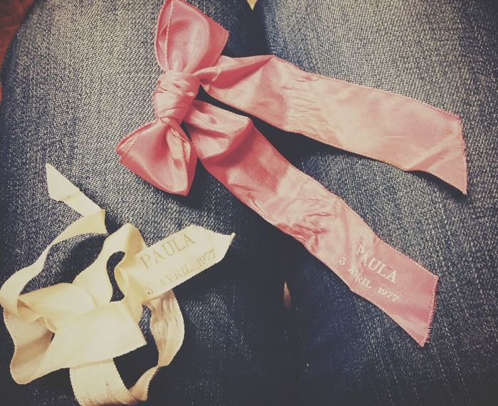 These 2 ribbons are from my christening day back in 1977 in France. MemoriesPhotographic Memory Vintage Old Ribbon Batismo Denim 1977 Pink Ribbon Check This Out EyeEm Best Shots EyeEm Best Edits EyeEm Gallery EyeEmBestPics Eyeem4photography EyeEm Innocence Eyeemphotography From My Point Of View Indoors  Portugal Memory
