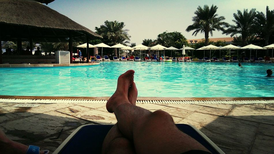Swimming Pool Sunny Day Relaxing Summer Views Just Chilling Legs At The Hotel Enjoying Holidays
