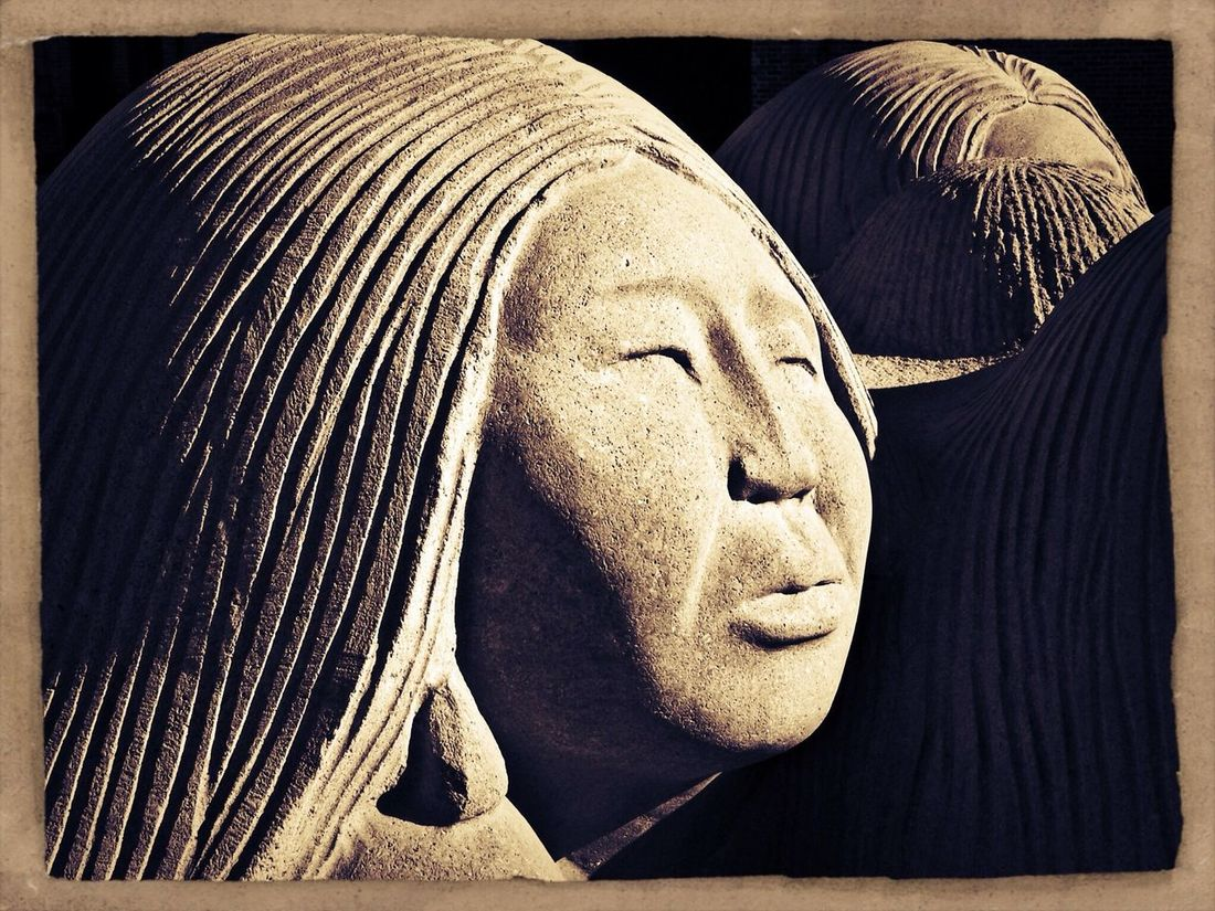 Young Adult Indoors  Young Women Close-up Adult People Adults Only Day Midland, TX Museum Of The Southwest Native American Indian Stone Material Sculpture Monochrome Photography