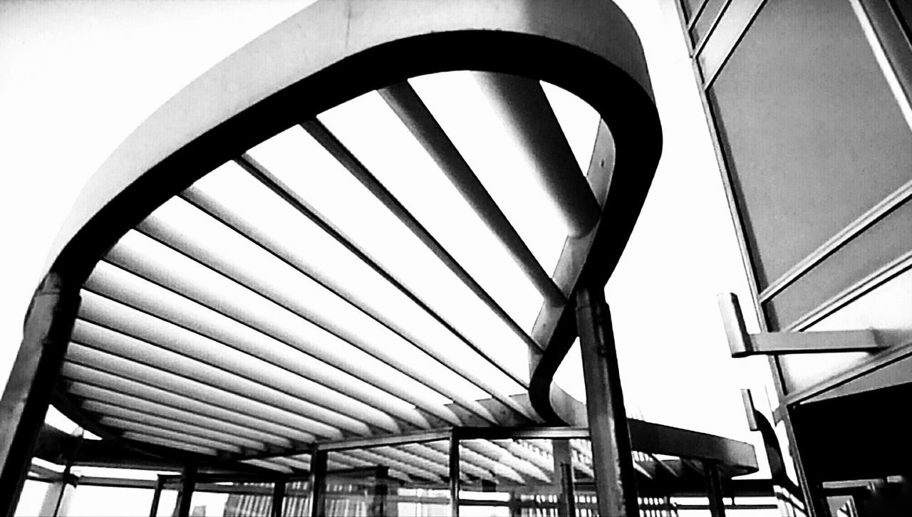 transportation, low angle view, built structure, no people, day, architecture, indoors, sky