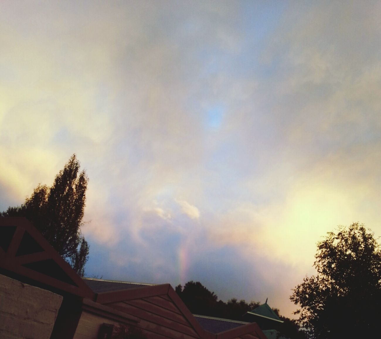 Rainbow outside. ♥ Rainbow Clouds Sky Heaven