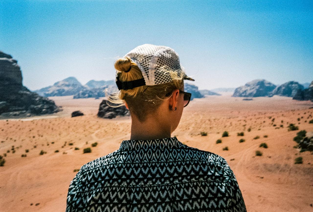 Rear View Of Woman In Desert