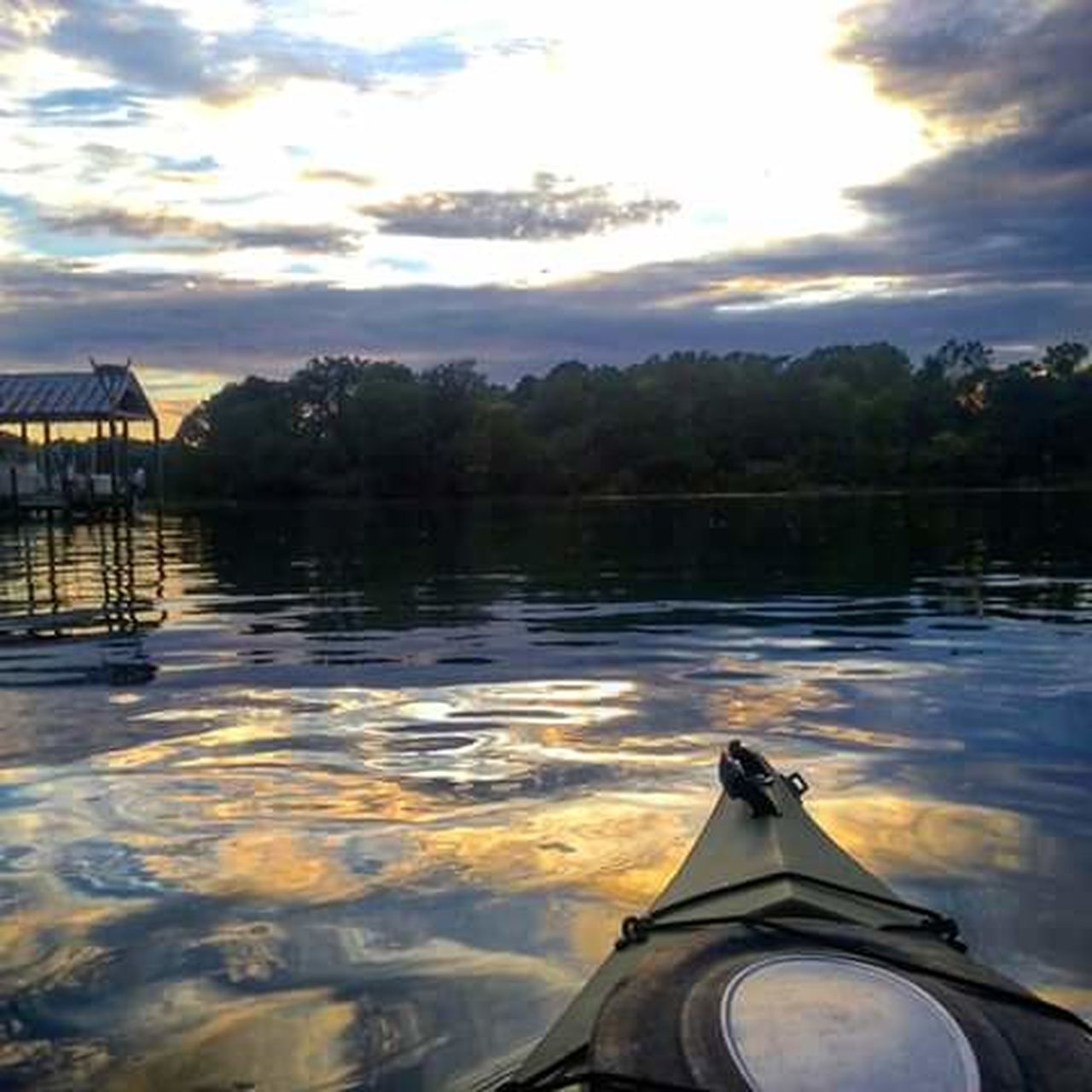 water, nature, lake, sunset, outdoors, tranquility, sky, nautical vessel, scenics, cloud - sky, reflection, rippled, no people, beauty in nature, tree, tranquil scene, day, kayak