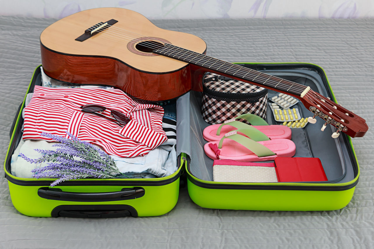 Sunglasses Suitcase Case Travel Voyage Vacation Rest Pack Summer Time  Hiking Bag Trip Packing Tourism Trip To The Seaside Summer Dream Plan Planning A Trip Planning Music Guitar Flip Flops Pills Flowers