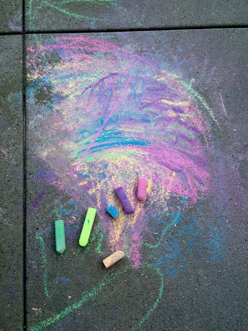Close-Up High Angle View Of Colorful Chalks
