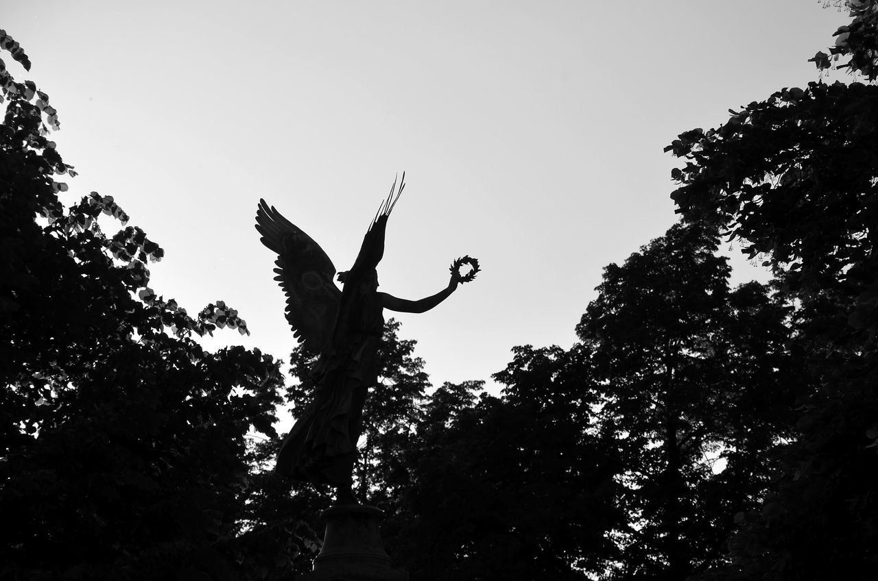 Dark Angel Silhouette Low Angle View Outdoors Nature Eyeemphotography Streetlive EyeEm Best Edits Angel Engel Bnw Black And White Lorbeerkranz Minimalism Laurel Wreath Angel In The Park Berlincity Streetphotography