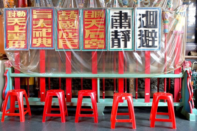 Composition Rithm Turquoise Colored Chairs Plastic Red Color Row Stools Temple Architecture