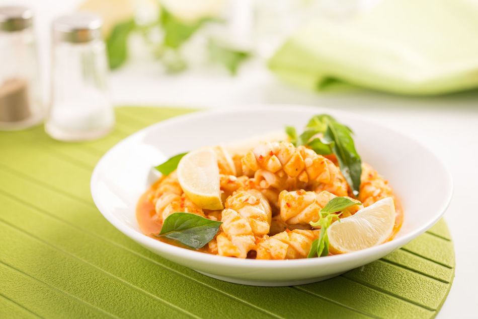 Spicy Sauce Calamari Squid with Thai Basil / Cumi Saus Pedas Kemangi Calamari Culinary Delicious Food Food And Drink Food Photography Foodie Foodism Foodphotography Kuliner Kulinerindonesia No People Ready To Eat Seafood Served Spicy Squid Thai Basil White Plate Yummy