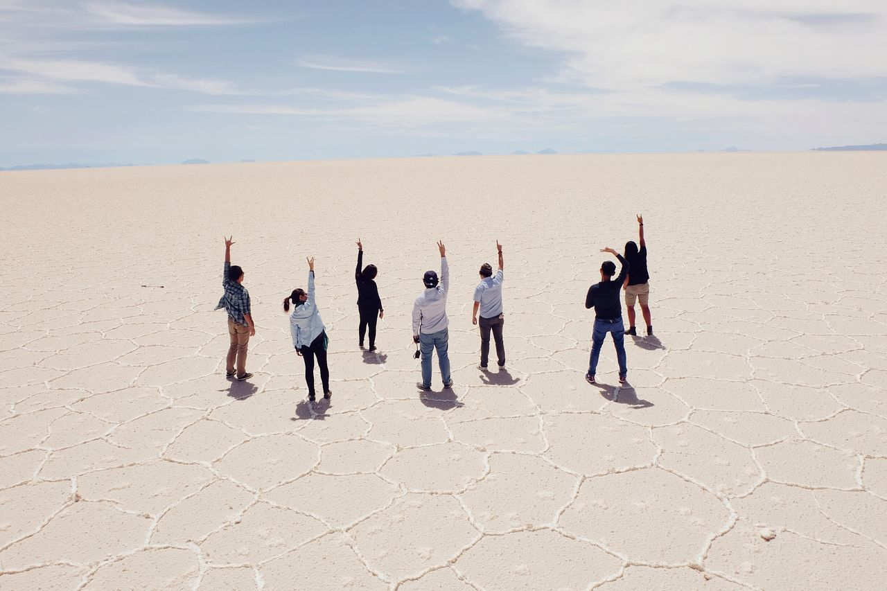 To infinity. Salar De Uyuni Salt Flats, Horizon Friends Group Photo Up Group Shot Travel Friendship Bolivia Travel Travelling White All White People Rise Up