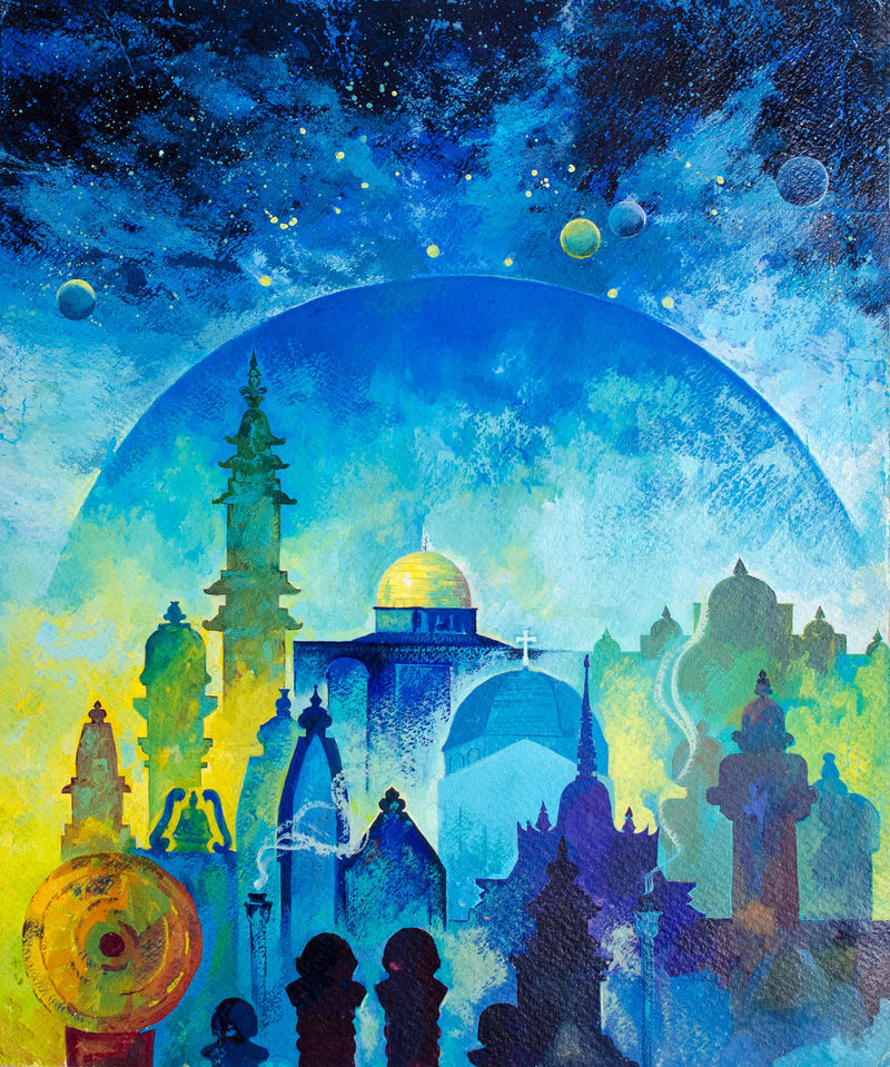Painting with poster paint on paper.This image shows the symbol of the faith of the people with respect to the religious doctrine of their Prophet with veneration. Which is seen in all parts of the world in general. And demonstrate the universality of this universe. Blue Tone Cult Devoted Doctrine Earth Faith Hand Painted Image International Other Religions Painting With Brush Personal Belief Poster Color Religion Religious  Representing Respect Space Symbol Universe Veneration World