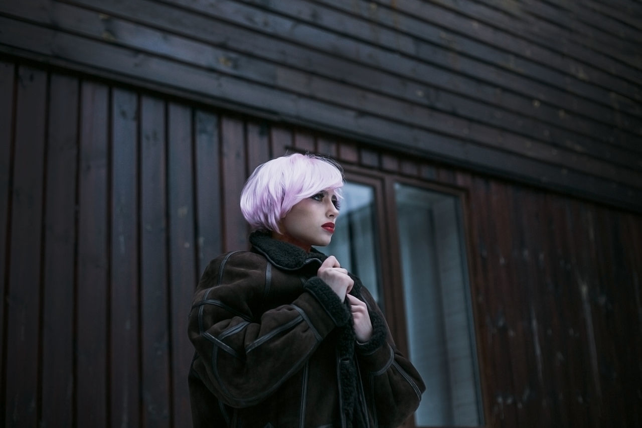 Coat Cozy Day Eye Fashion Hands Hood - Clothing Leisure Activity Lips Model One Person Outdoors Photography Pink Pinkhair Portrait Real People Redlips Sexygirl Spring Standing Stunning Window Winter Woman