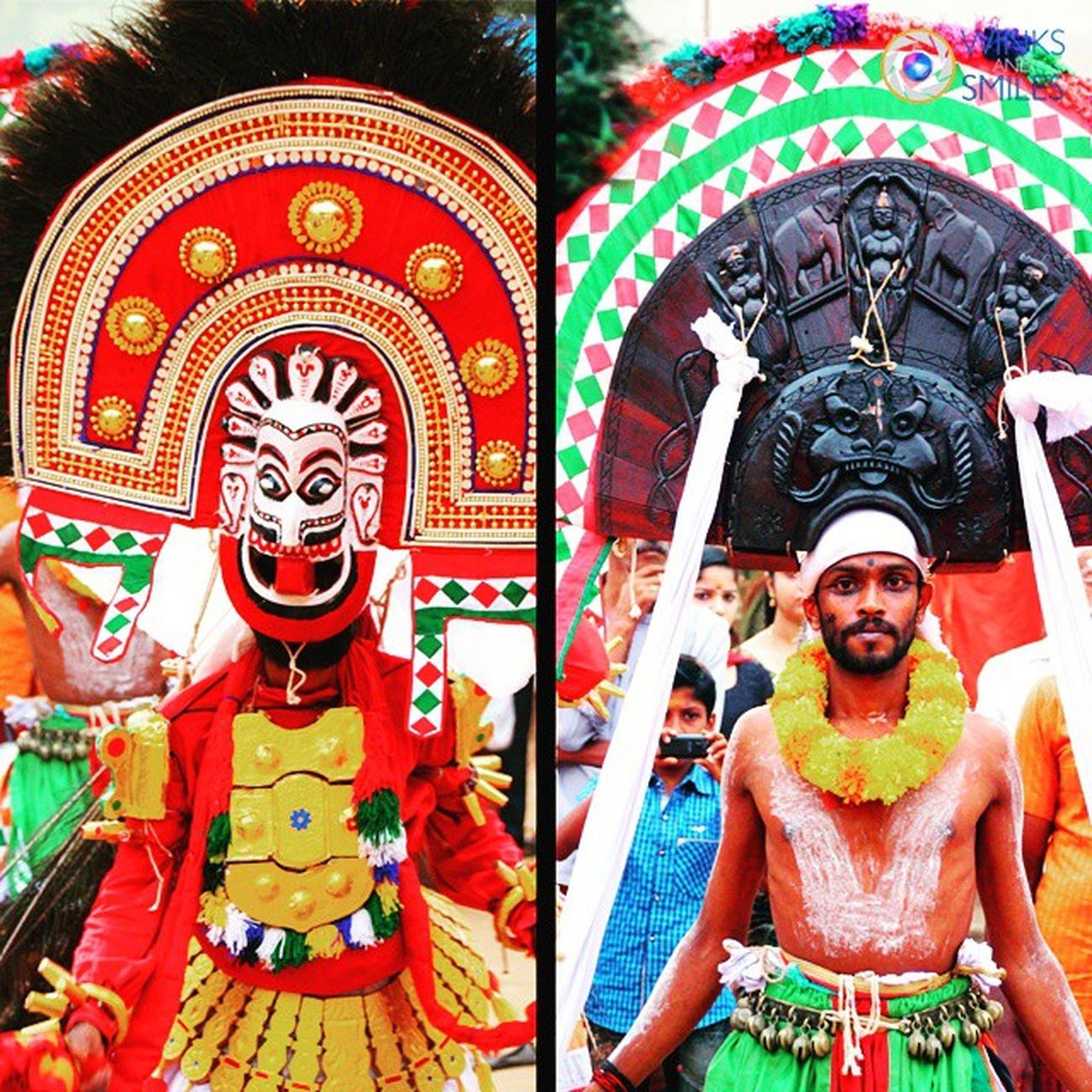 Poothan and Thira - Poothan and Thira is a ritualistic art form in the South Malabar region of Kerala in India, in which people dance in costumes representing Poothan, Lord Shiva's lieutenant, and Thira, the Goddess Kali, to the accompaniment of drummers. It is usually performed once or twice a year in villages or towns to cleanse them of evil spirits as well as in temples - especially in the Pooram festival season between December and May. Kerala Poothan Thira Pooram Festival Temples Thrissurpooram India Incredibleindia GodsOwnCountry Ottapalam Bhagavathitemple