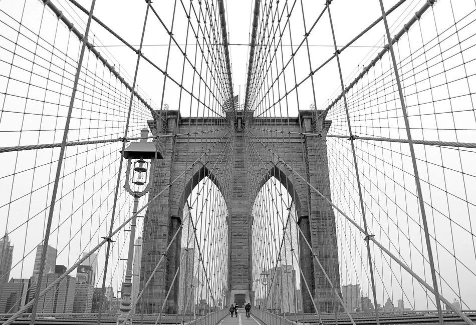 Beautiful stock photos of schwarz, Architecture, Bridge - Man Made Structure, Brooklyn Bridge, Built Structure