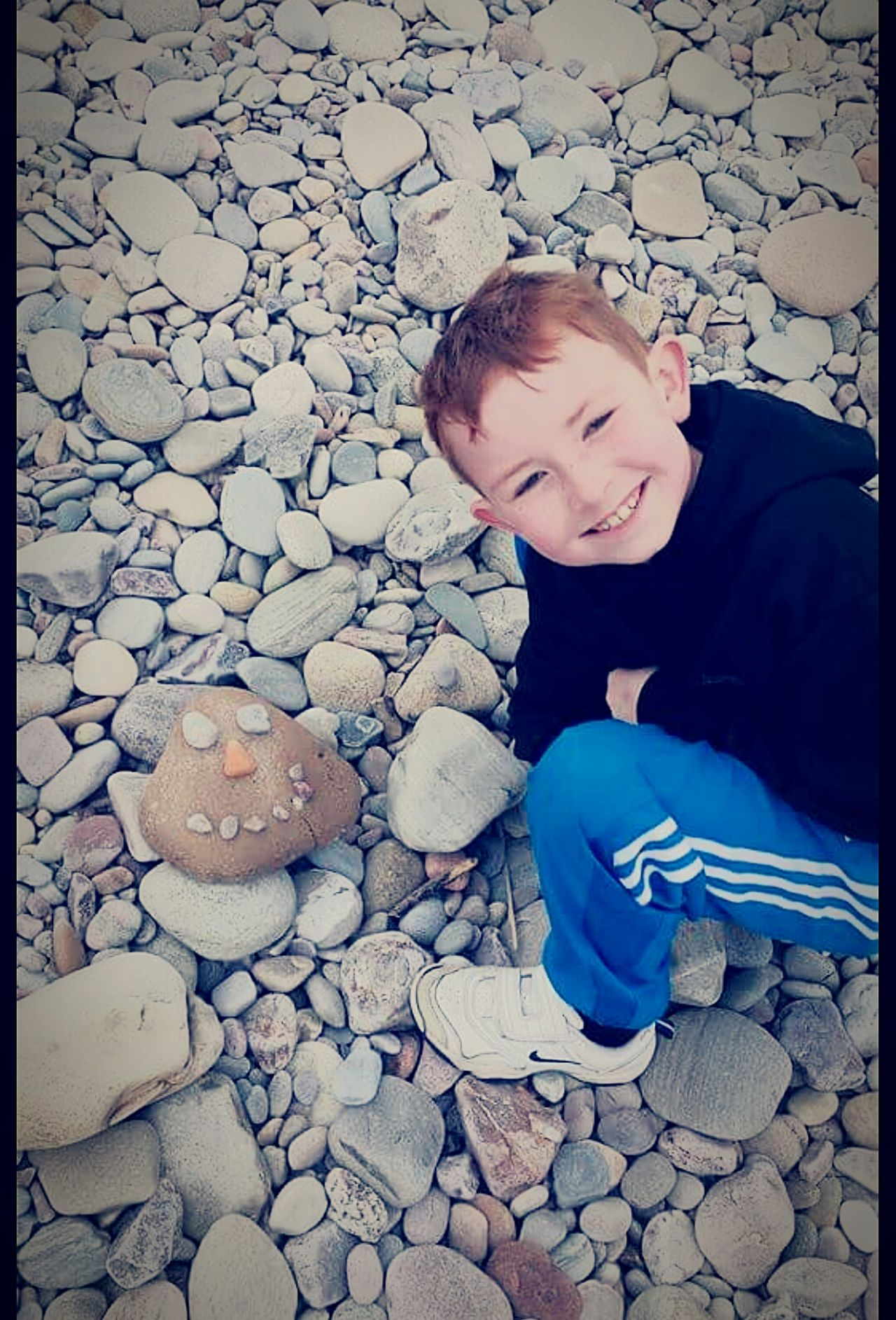 Pebbles On The Beach My Son <3 Enjoying Life Spey Bay
