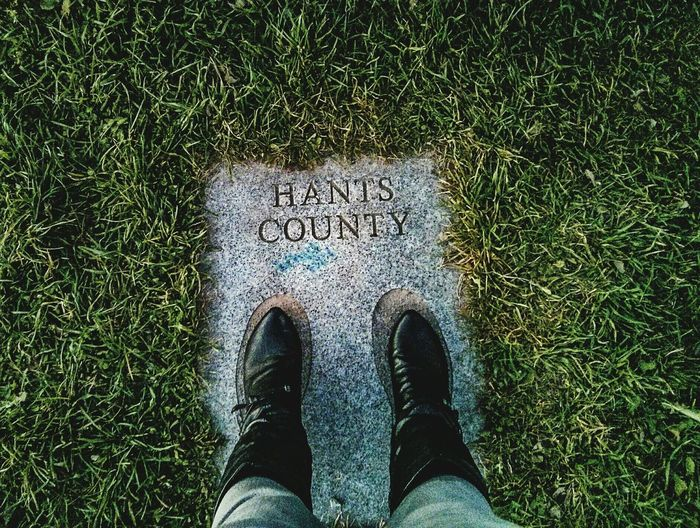 Two feet on the ground. Born & Raised Hants County Nova Scotia Low Section Standing High Angle View Real People Personal Perspective Directly Above Outdoors Leisure Activity Women Green Color Grass Monument Courthouse Hill Gore