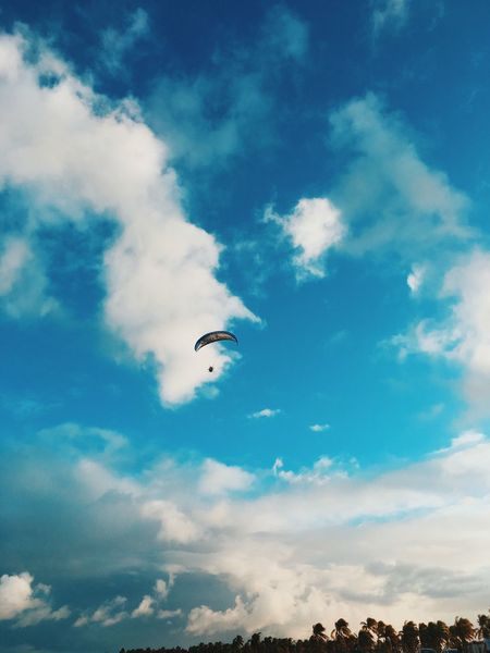 Sky Mid-air Cloud - Sky Flying Low Angle View Blue Parachute Outdoors Day Adventure One Person Nature Beauty In Nature Paragliding Hot Air Balloon Animal Themes People