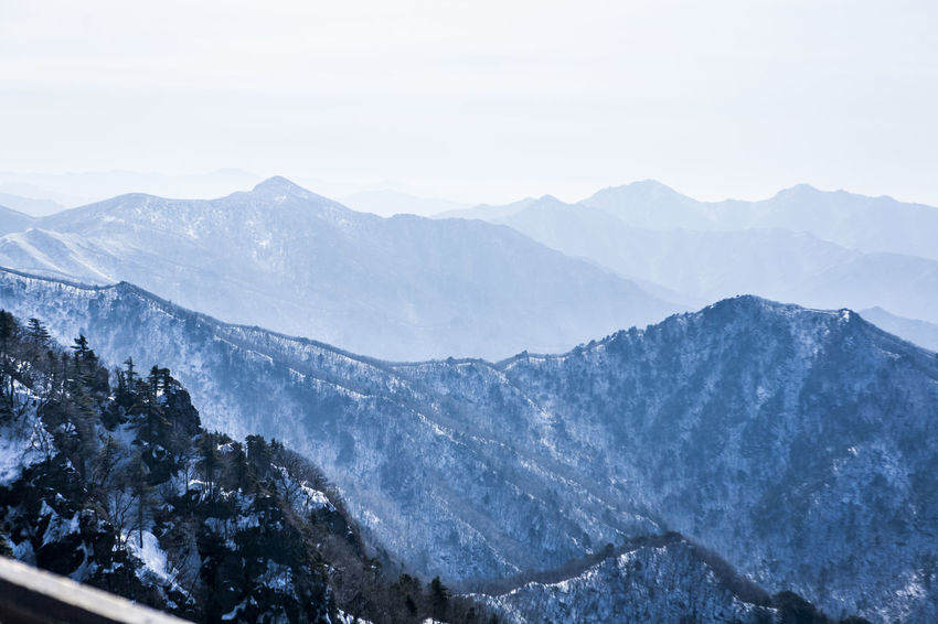 Clear Sky Cold Covered In Snow Dangerous Deogyu Mountain Famous Place High Altitude Mountainous Area Outdoor Snow Tranquility Unhampered Winter