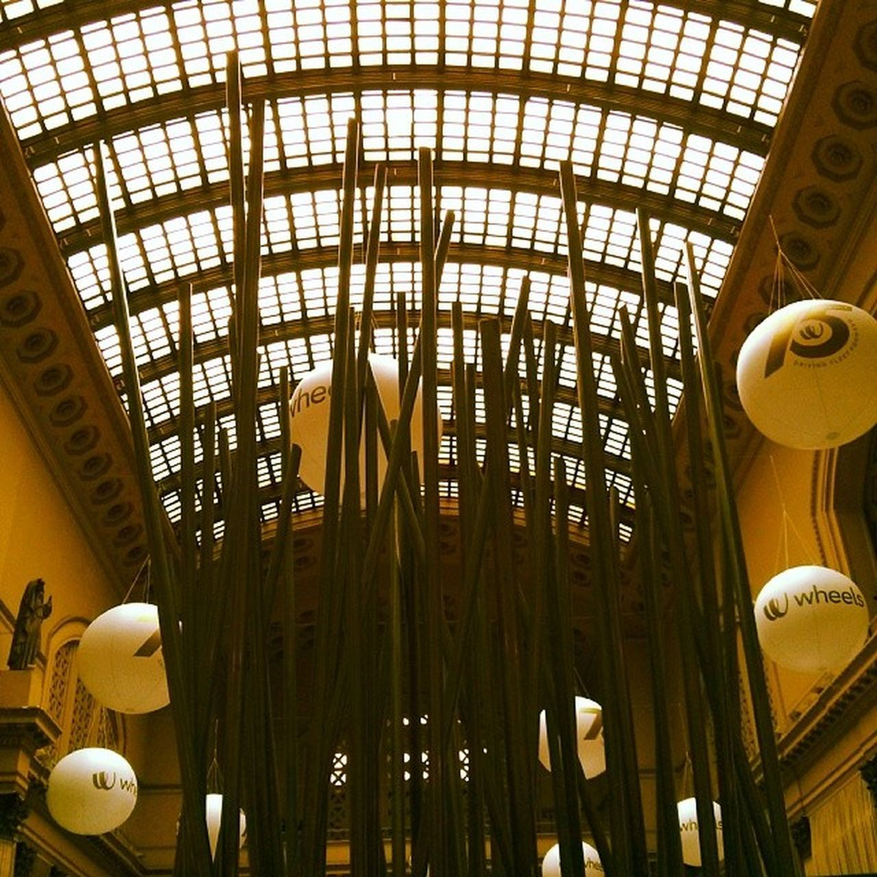 ceiling, indoors, low angle view, architecture, no people, day