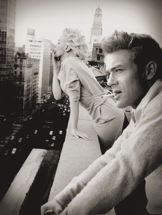 James Dean & Marilyn Monroe Check This Out New York Hello World Beautiful Hanging Out Wish I was born in that time 50's