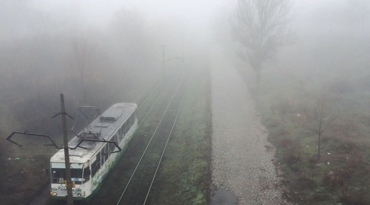 What a fog!🌬 Transportation Rail Transportation Nature Tree No People Outdoors Day Landscape Hazy  Beauty In Nature Green Vscocam Vscoonly VSCO VSCO Cam IPhoneography Iphonephotography Iphone5s IPhone Photography IPhone Beauty In Nature City