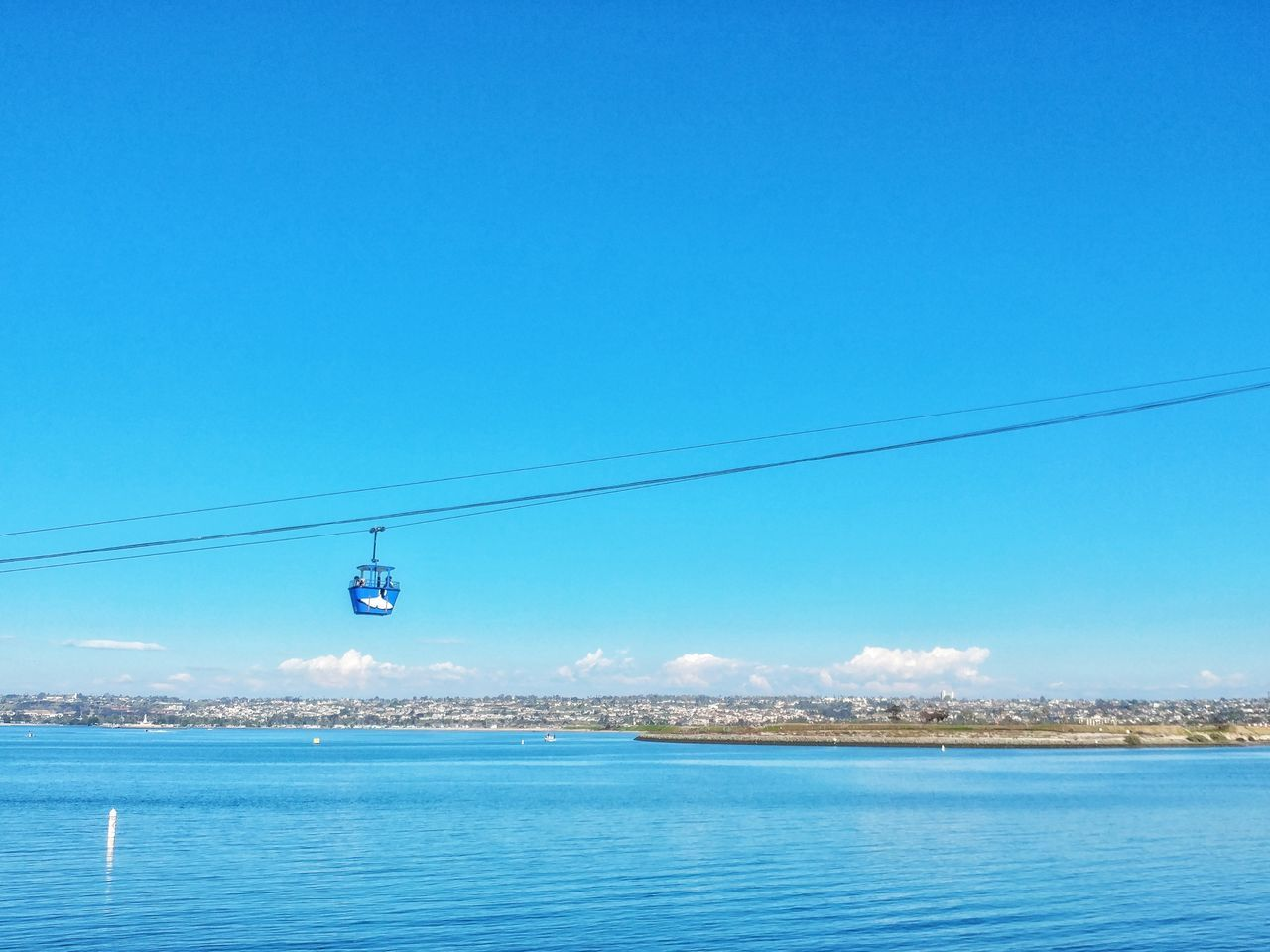 USA Photos Blue Water Sea Clear Sky Waterfront Outdoors No People NatureTravel Clouds And Sky Beauty In Nature Day Beauty In Nature Sky Cable Car Cable Car View LG V20 Streamzoofamily Streamzoofamily Friends