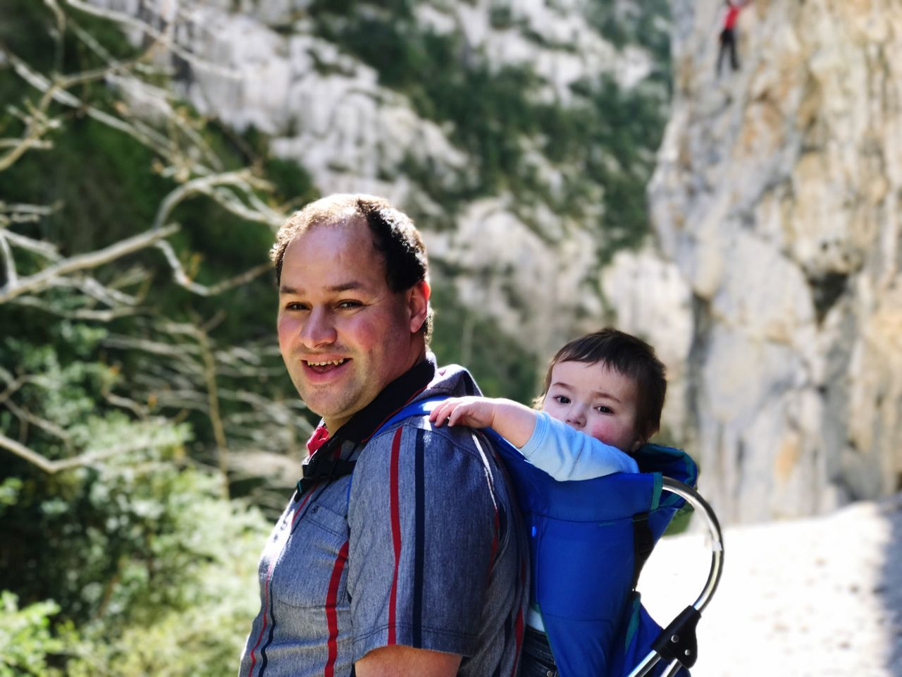 Hiking Baby Father Two People Child Boys Smiling Outdoors Childhood Leisure Activity Hiking Happiness Real People Family Togetherness Portrait Day People Adult Rock Climbing