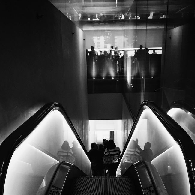Shadows and Reflections Check This Out Reflection Shadows Shadows & Lights The Photojournalist – 2016 EyeEm Awards Contrast Blackandwhite Blackandwhite Photography Glowing Escalator Glass Silhouette Perspective On The Way