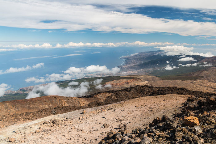 View from Mount Teide over the northeast of Tenerife. Beauty In Nature Canary Islands Cloud - Sky Day Distant View Dust Island Landscape Mountain Nature No People Outdoors Rocks Sea Sea And Sky Sky SPAIN Stone Teide Tenerife Vulcano