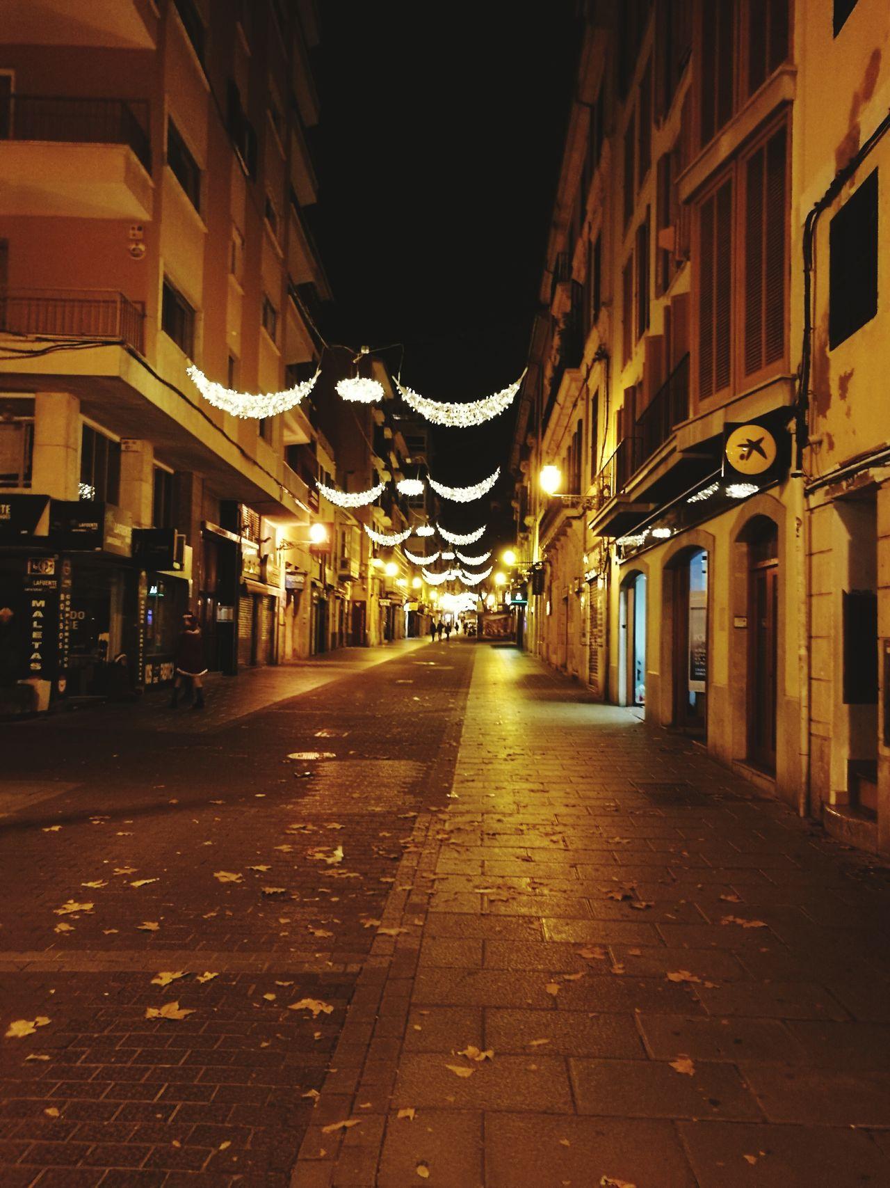 Palma De Mallorca Night Illuminated City Street Light Christmas Decoration Cityscape City Street Architecture Street