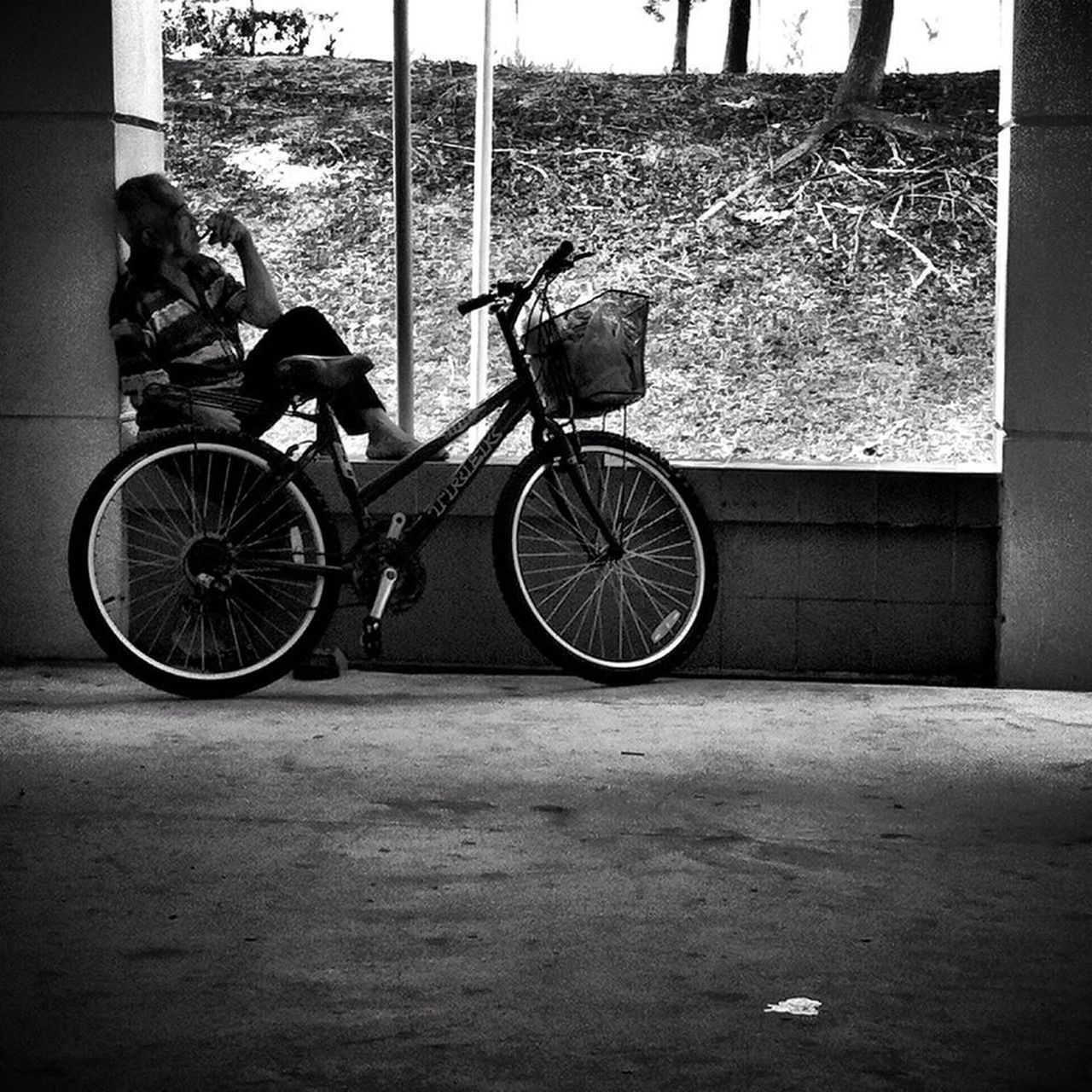 Blackandwhite Streetphotography Streetphoto_bw Street Photography People B&W Portrait Old Man Smoking Resting Bicycle Void Deck