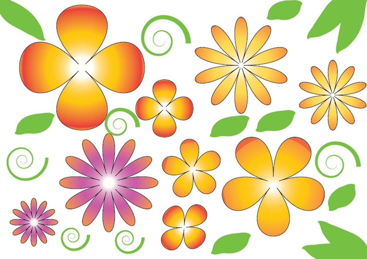 Abstract Computer Graphic Flower Green Color Leaf Multi Colored No People Palette Pattern Symbol Vibrant Color White Background Yellow