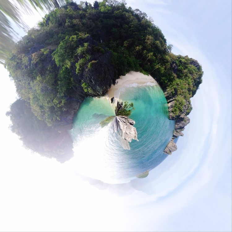 360 degree shot Tree Nature Sea Beauty In Nature Beach Outdoors Mountain No People Day Sky Fish-eye Lens 360 Panorama Island Beachphotography Whitesand Green Rock Formation Travel NOMAD Wanderlust